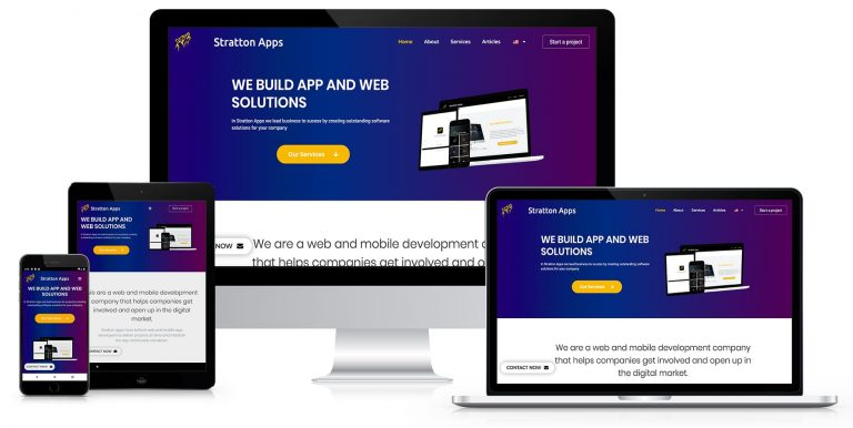 full responsive website development app