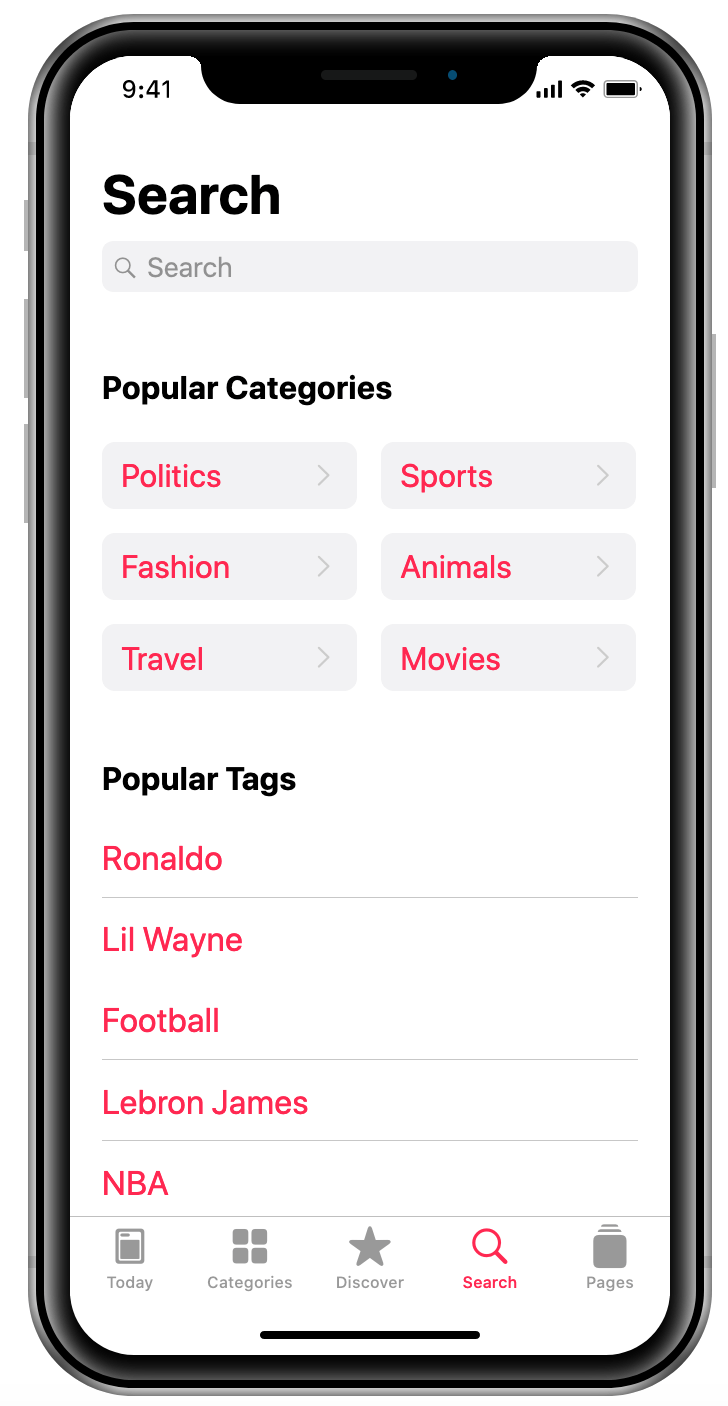 Popular categories and tags news project